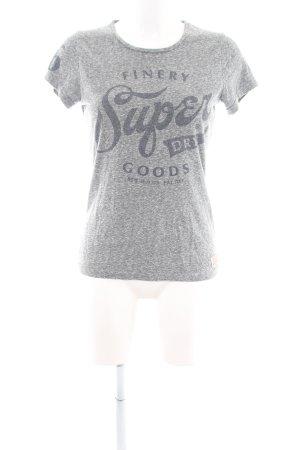 Superdry T-Shirt hellgrau Schriftzug gedruckt Casual-Look