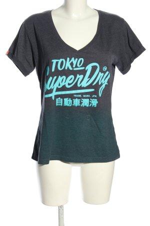 Superdry T-Shirt hellgrau-türkis Farbverlauf Casual-Look