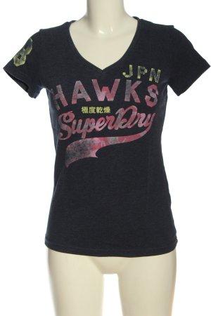 Superdry T-Shirt blau-pink Schriftzug gedruckt Casual-Look