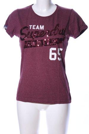 Superdry T-Shirt lila-weiß meliert Casual-Look