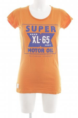 Superdry T-Shirt hellorange-blau Motivdruck Casual-Look
