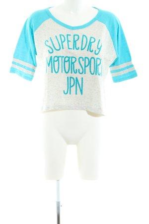 Superdry T-Shirt hellgrau-blau Schriftzug gedruckt Casual-Look