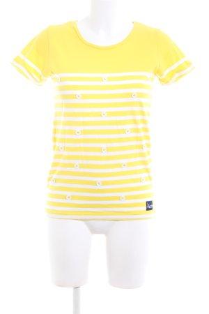 Superdry T-Shirt blassgelb-weiß Streifenmuster Casual-Look