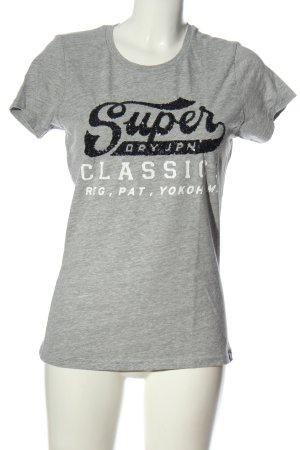 Superdry T-Shirt hellgrau-weiß Schriftzug gedruckt Casual-Look