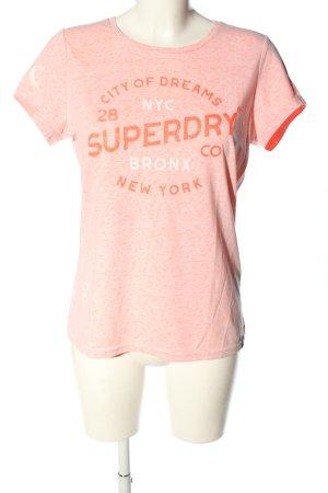 Superdry T-Shirt creme-hellorange Schriftzug gedruckt Casual-Look