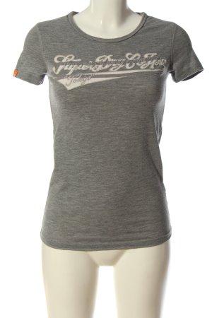 Superdry T-shirt grigio chiaro-bianco caratteri stampati stile casual