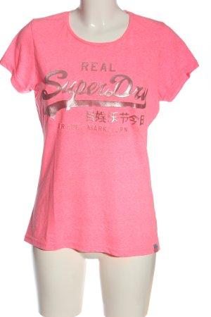 Superdry T-Shirt pink-goldfarben Schriftzug gedruckt Casual-Look