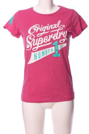 Superdry T-Shirt pink-türkis Schriftzug gedruckt Casual-Look