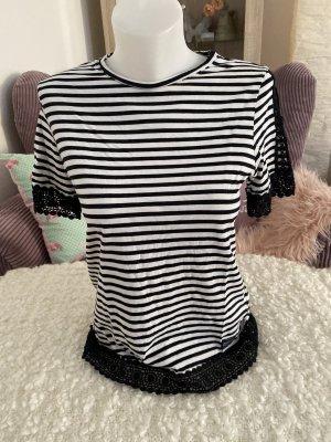 Superdry T-Shirt Gestreift Gr S weiß schwarz