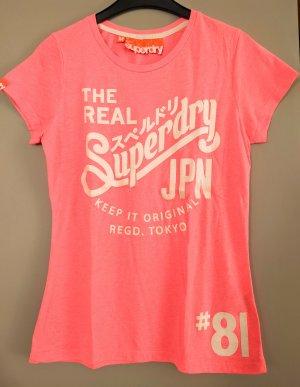 SUPERDRY T-Shirt Gr. M Neonpink, weißer Glitzerprint
