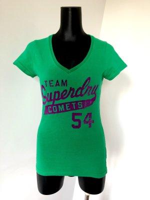 Superdry T-Shirt in grün mit lila Samt Druck Größe XS | S