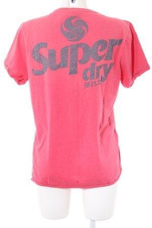 Superdry T-Shirt pink Schriftzug gedruckt Casual-Look