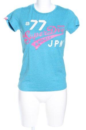 Superdry T-Shirt türkis Motivdruck Casual-Look