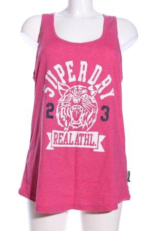 Superdry Tanktop pink-weiß Schriftzug gedruckt Casual-Look