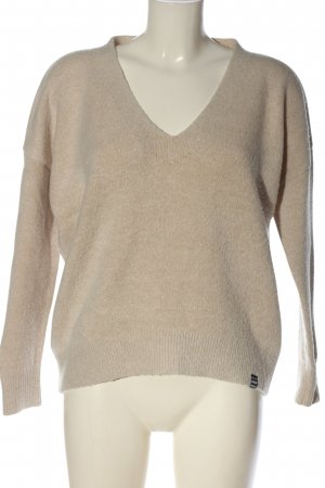 Superdry V-Ausschnitt-Pullover creme Casual-Look