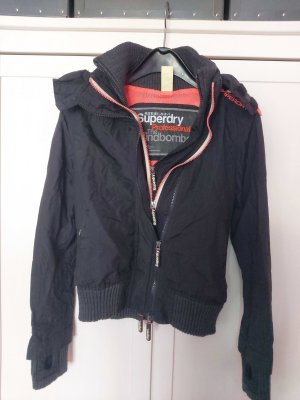 Superdry Windjack zwart-neonoranje