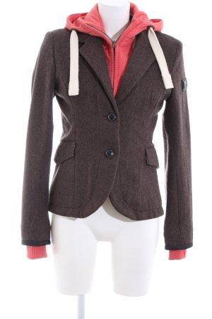 Superdry Chaqueta de lana rojo-marrón moteado look casual