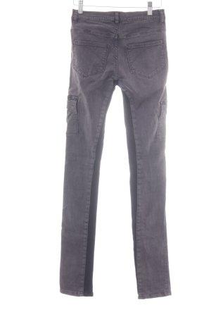 Superfine Pantalon strech gris foncé-noir Éléments métalliques