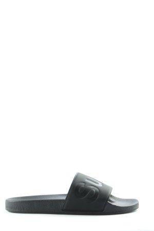 Superga Komfort-Sandalen schwarz Schriftzug gedruckt Casual-Look