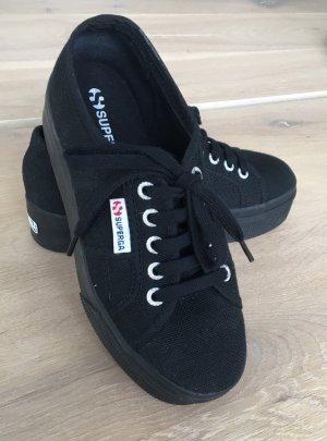 SUPERGA Plateau Sneaker, Schwarz, Canvas Größe 35