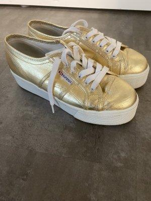 Superga Zapatillas con tacón blanco-color oro