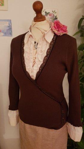 Esprit Cache-cœur en tricot brun foncé-cognac coton