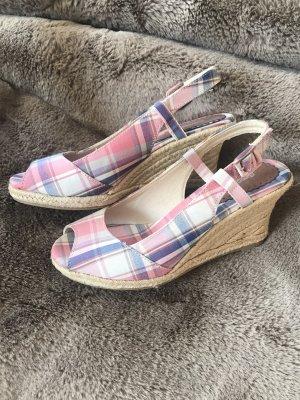 Superschöne Sandalen * Wedges * Karomuster * Sisalabsatz * Neu und ungetragen * mit Schönheitsfehlern