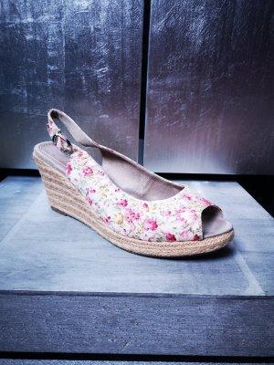 Superschöne Wedges von Tamaris Gr 41 Blumenmuster Keilabsatz Sandalen Sandaletten Plateau