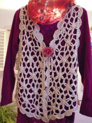 Szydełkowany sweter złoto-kremowy Tkanina z mieszanych włókien