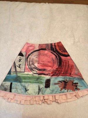 Superschöner Sommer Midi Rock mit Kunstdruck und Rüschen (wie NEU)