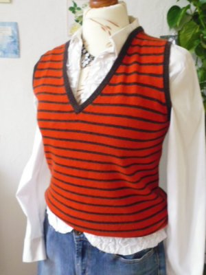 Fine Knitted Cardigan bright red-cognac-coloured mixture fibre