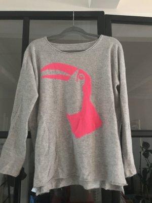 The lovely Brand Sudadera de cachemir gris claro-rosa neón