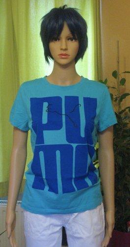 Superschönes, seltenes T-Shirt, Sportshirt von PUMA in toller Farbkombi, türkis mit blau, Größe DE 38/40