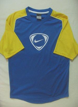 Superschönes Sportshirt, T-Shirt von NIKE in kobaltblau mit gelb..großer Logodruck vorne, Größe Large, DE 40