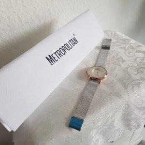 Metropolitan Reloj con pulsera metálica color plata-color rosa dorado