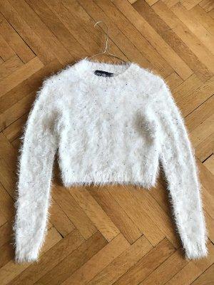 supersoft Plüsch Pullover Strickpullover mit Perlen creme