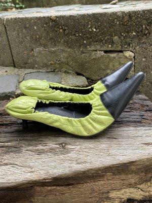Andrea Conti Zapatos de punta verde hierba-negro Cuero