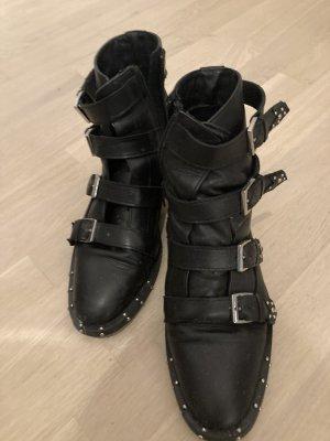 Bronx Chelsea Boot noir-argenté cuir
