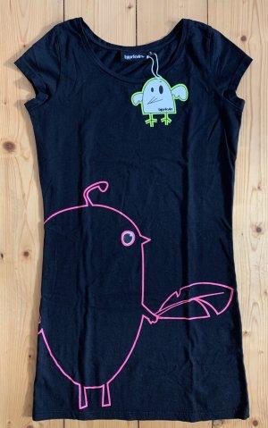 supersüßes schwarzes Shirt von Björkvin mit Vogelprint vorn und Logoprint hinten NEU! mit Etikett Gr. S (34)