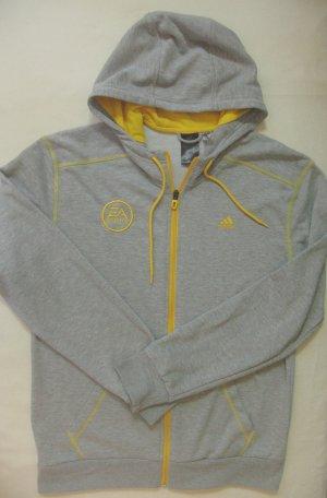Supertolle Vintage Sweat Kapuzen Jacke von ADIDAS, grau mit gelb