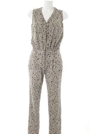 Supertrash Jumpsuit beige-schwarz florales Muster Casual-Look