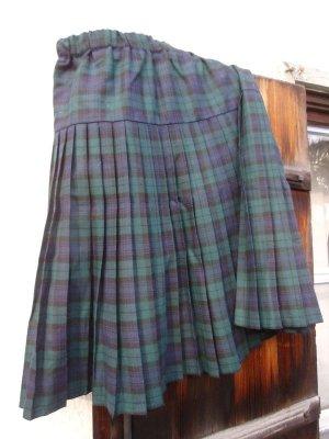 Plisowana spódnica ciemnozielony-ciemnoniebieski Tkanina z mieszanych włókien
