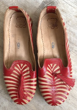Slip-on Shoes brick red-beige leather
