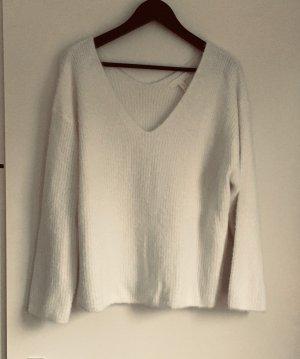 H&M Maglione con scollo a V bianco