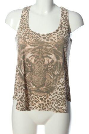 Supre Camiseta sin mangas marrón-negro estampado de leopardo look casual