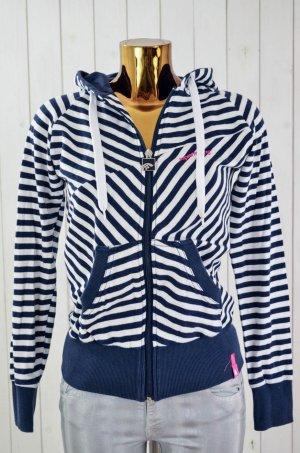 SUPREMEBEING Damen Sweatshirtjacke Zipjacke Blau Weiß Gestreift Baumwolle Gr.S