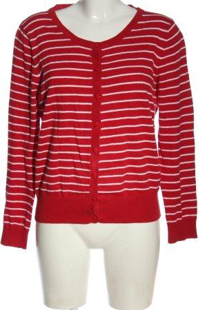 Sure Cardigan in maglia rosso-bianco motivo a righe stile casual