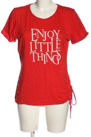 Sure T-shirt rosso-bianco caratteri ricamati stile casual