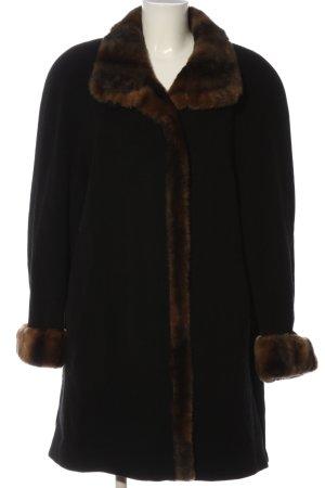 Sure Wełniany płaszcz czarny-brązowy W stylu casual