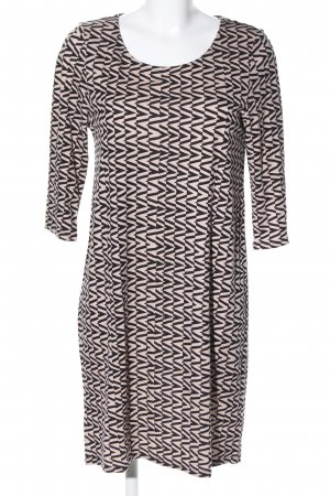 Surkana Jerseykleid schwarz-creme grafisches Muster Casual-Look